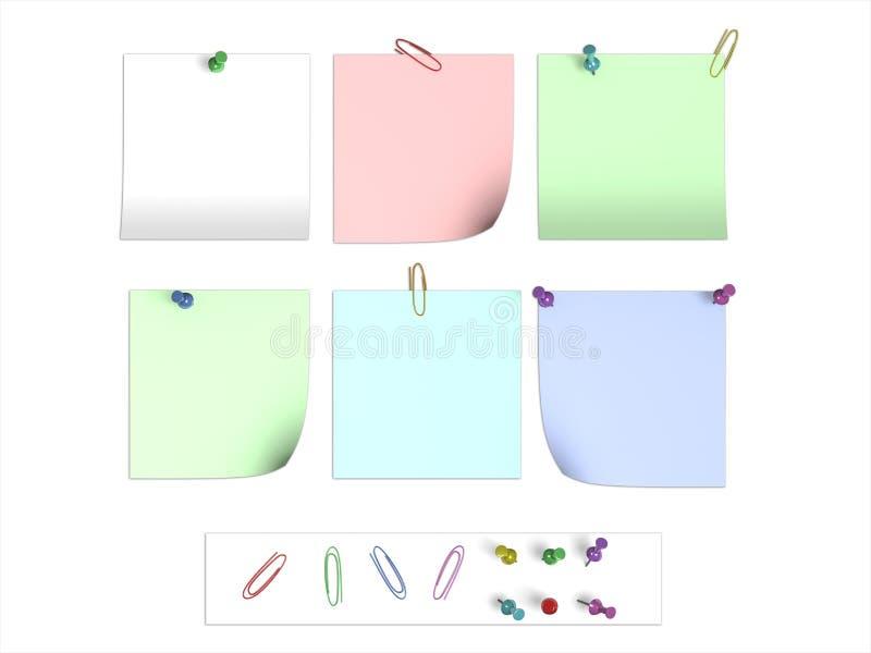 Aufkleber und Papierklammern lizenzfreie abbildung