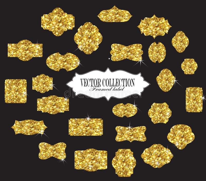Aufkleber und Rahmen des Goldes stock abbildung