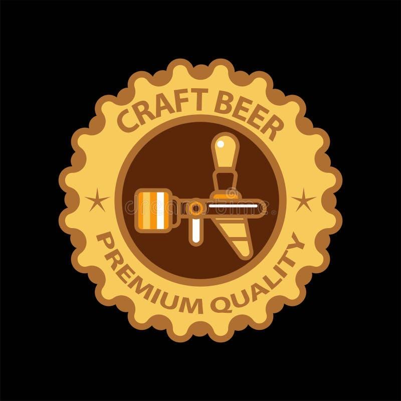 Aufkleber-Vektorikone des Handwerksbieres halten erstklassige des Bierhahns und Sterne für Brauerei Kneipe ab stock abbildung