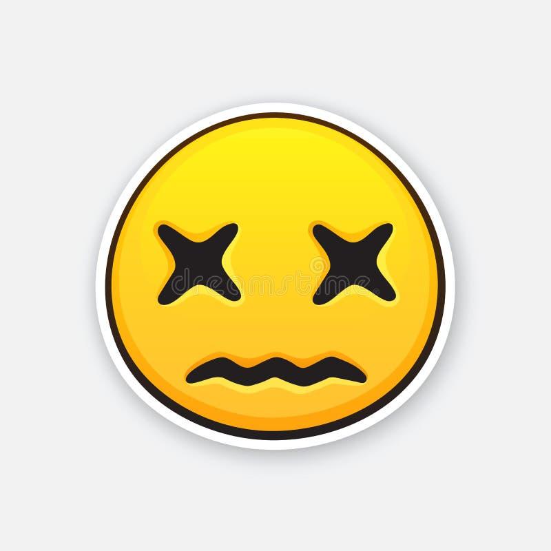 Aufkleber von Emoticon mit Queraugen für das Ausdrücken des Gefühls des Todes lizenzfreie abbildung