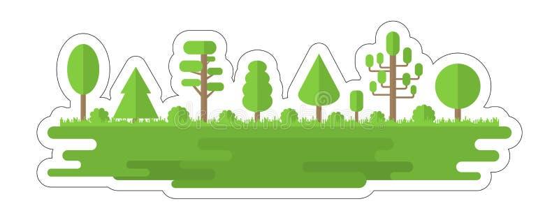aufkleber Wald, Park, Gasse mit verschiedenen B?umen Sommerwaldpanorama Viele mehr ?kologiebilder in meinem Portefeuille Auch im  stock abbildung