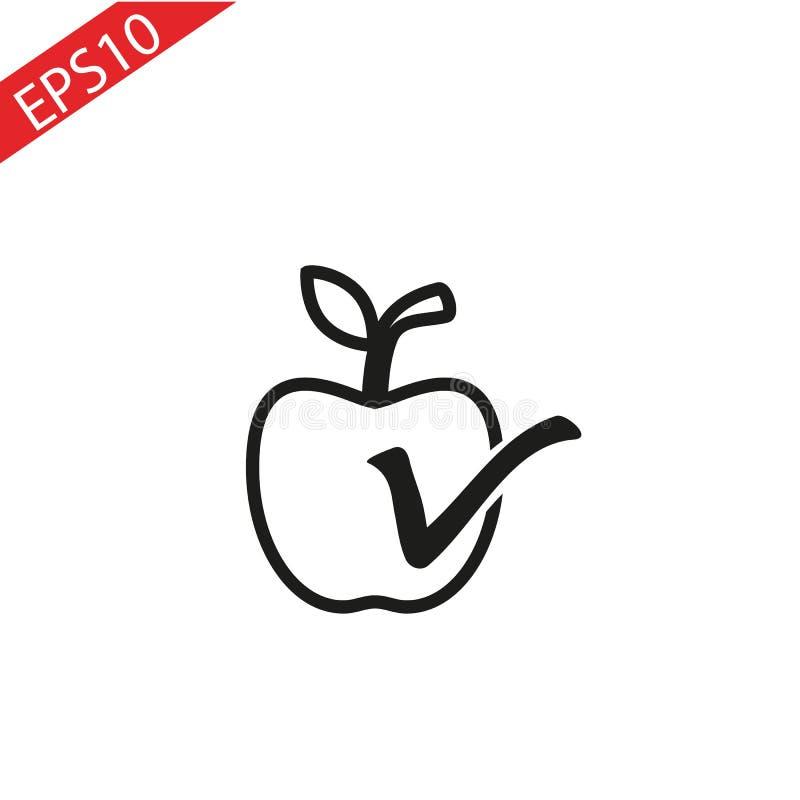 Aufkleberapfel mit Blatt realistische Illustration des Vektors Frische lokalisierte Frucht lizenzfreie abbildung