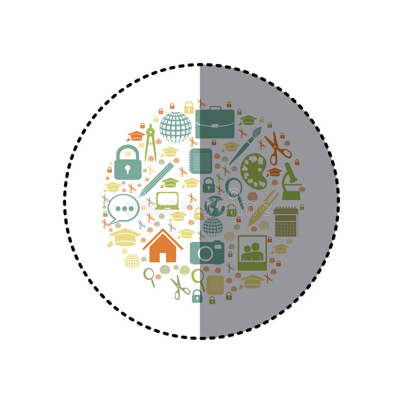 Aufkleberbunte Kreisform mit akademischen Elementen lizenzfreie abbildung