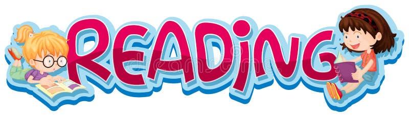 Aufkleberdesign für Wortlesung mit zwei Kinderlesebuch lizenzfreie abbildung