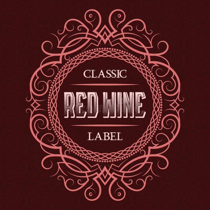 Aufkleberdesignschablone des Rotweins klassische Kopierter Weinleserahmen mit Text auf Musterhintergrund stock abbildung