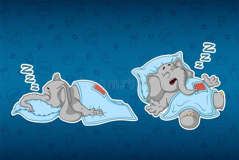 Aufkleberelefanten Er schläft mit einem tiefen Schlaf, umfasst mit einer Decke Großer Satz Aufkleber Vektor, Karikatur stock abbildung