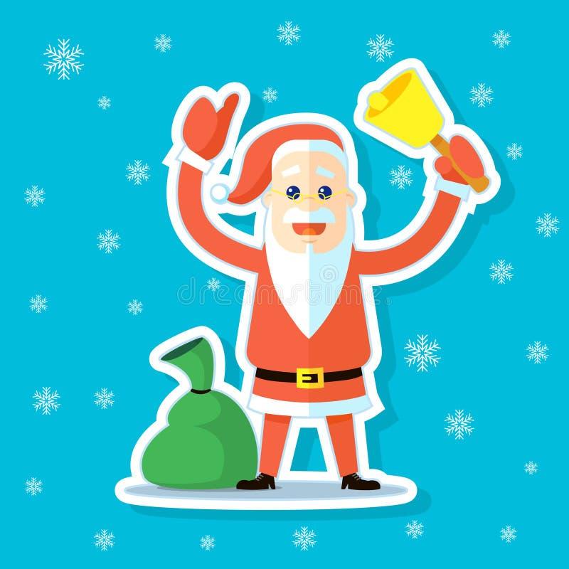 Aufkleberillustration einer flachen Kunstkarikatur nette Santa Claus mit Glocke und des Sacks mit Geschenken lizenzfreie abbildung