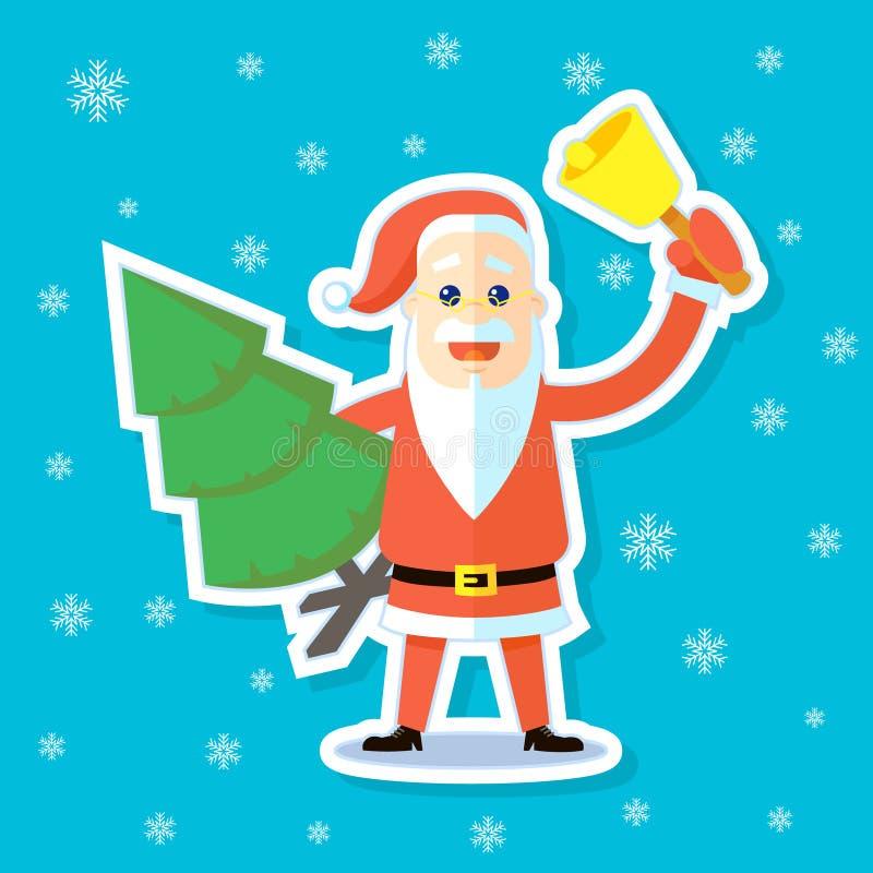 Aufkleberillustration einer flachen Kunstkarikatur Santa Claus mit einer Glocke und einem Weihnachtsbaum vektor abbildung