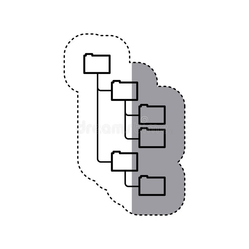 Aufkleberschattenbildordner organisiert in der Hierarchie vektor abbildung