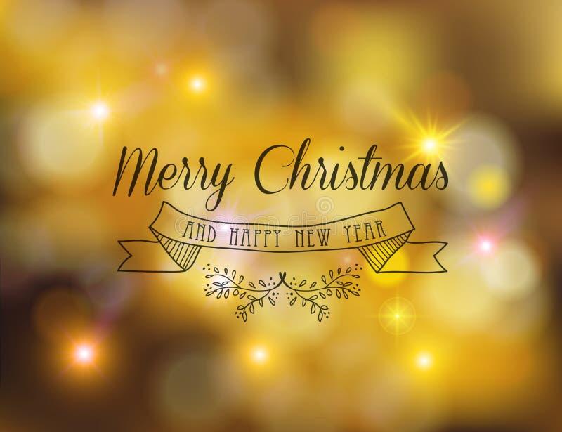 Aufkleberverzierungs-Gold-bokeh des neuen Jahres der frohen Weihnachten stock abbildung