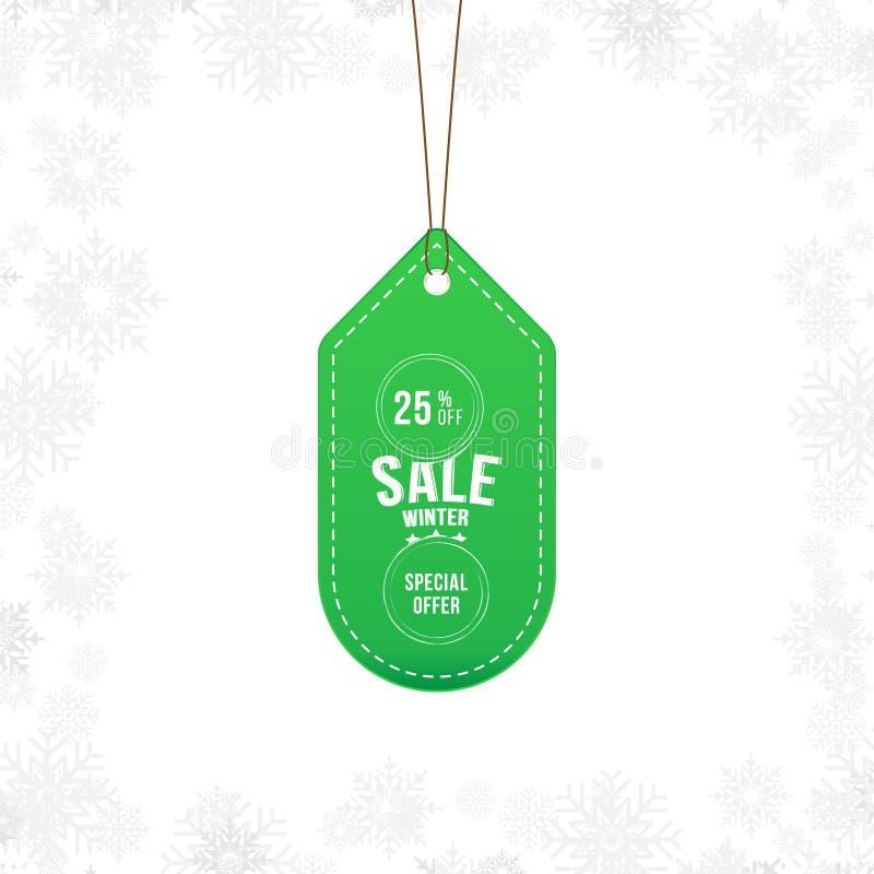 Aufkleberwinterschlussverkauftag mit Sonderangebot 25 weg Vektorelement für frohe Weihnachten und guten Rutsch ins Neue Jahr lizenzfreie abbildung