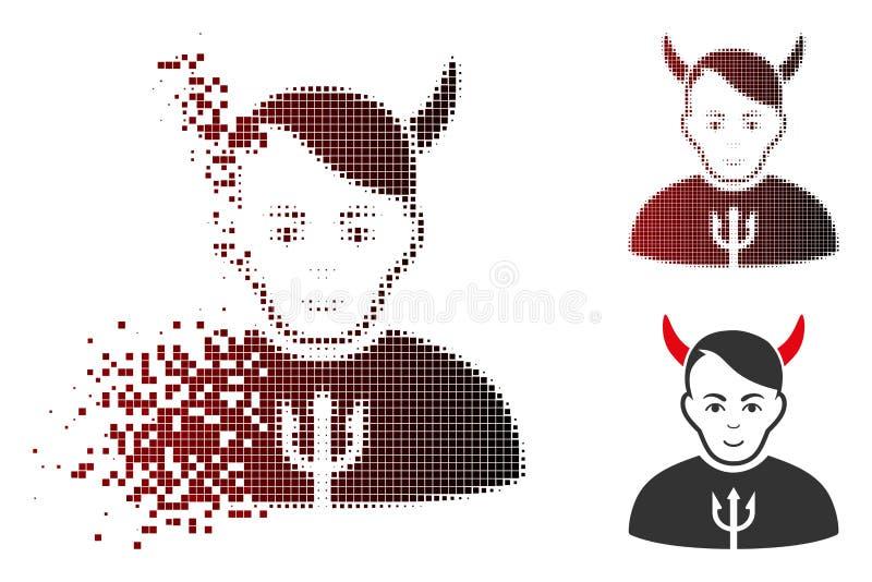Auflösungshalbtonsatan-Ikone Pixelated mit Gesicht vektor abbildung