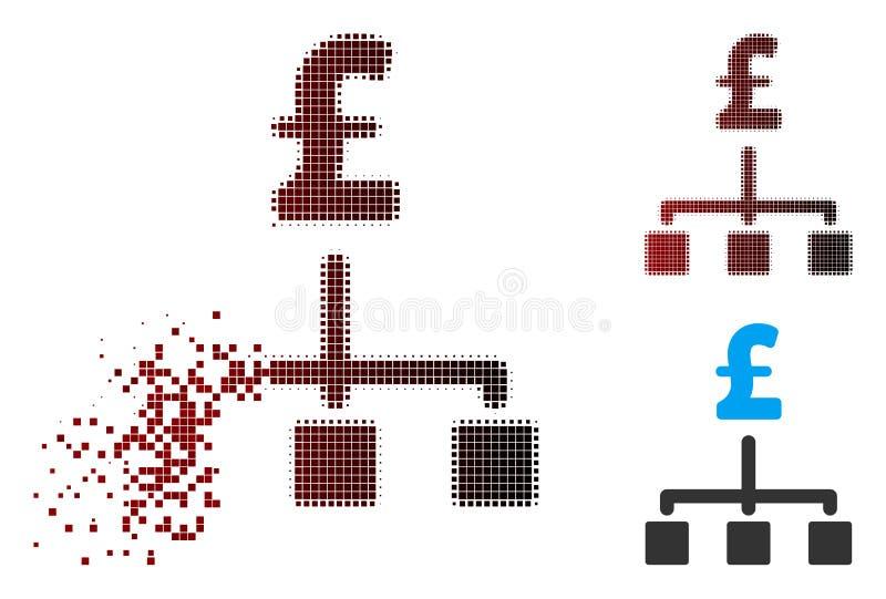 Auflösungspixel-Halbtonpfund-Hierarchie-Ikone stock abbildung