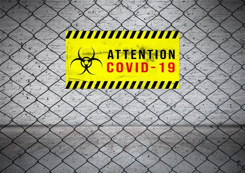 Aufmerksamkeit Coronavirus covid 19 und Alarmzeichen für den Ausbruch auf dem Drahtzaun Altweißer Backsteinboden stockfotos