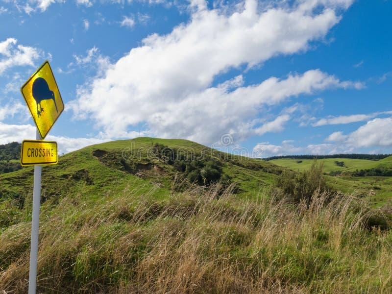 Aufmerksamkeit Kiwi Crossing Roadsign und NZ-Landschaft stockfoto