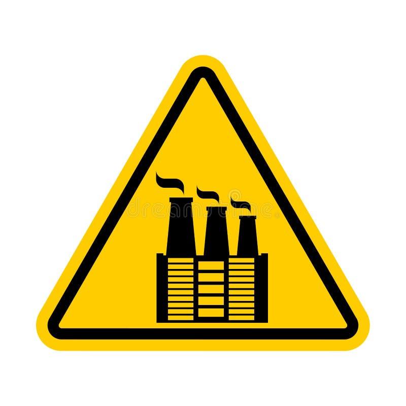 Aufmerksamkeits-Fabrik Umweltverschmutzung verboten Gelber tr stock abbildung