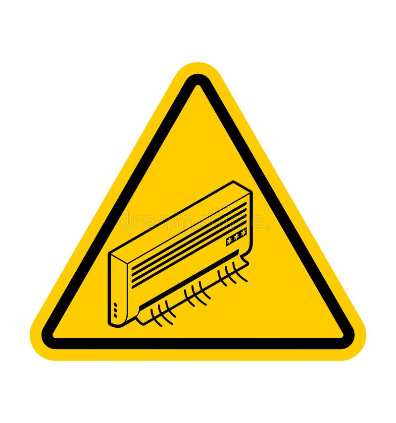 Aufmerksamkeits-Klimaanlage Warnen Sie das Abkühlen Gelbes DreieckVerkehrsschild vektor abbildung
