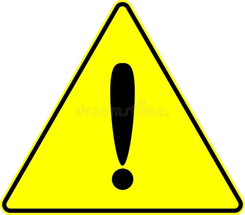 Aufmerksamkeitsachtungausrufsgelb-vektorzeichen stock abbildung