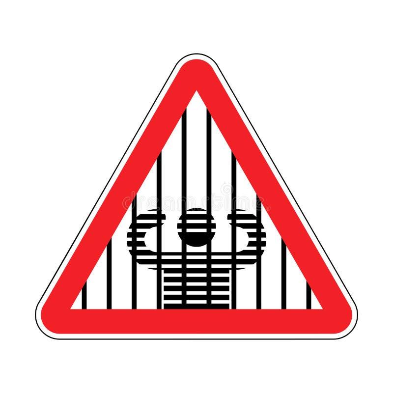 Aufmerksamkeitsgefängnis Vorsichtgefängnis Rotes Verkehrsschild Warnende Verbrecher stock abbildung