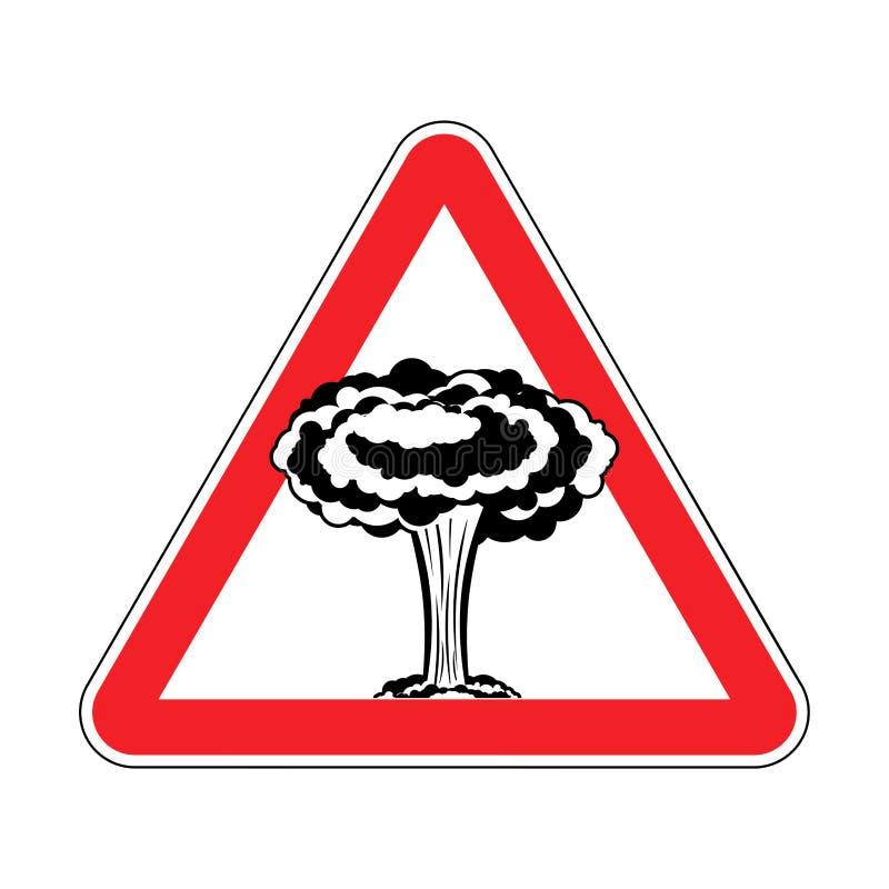Aufmerksamkeitskernexplosion Krieg wird verboten Rotes Dreieck Roa vektor abbildung