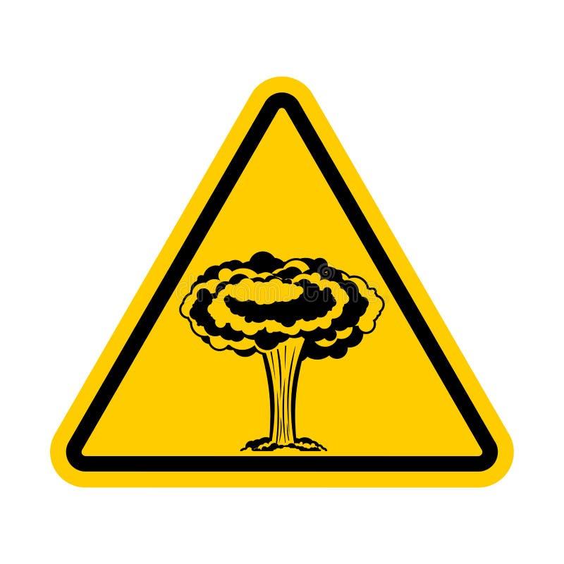Aufmerksamkeitskrieg Kernexplosion wird verboten Gelbes Dreieck lizenzfreie abbildung