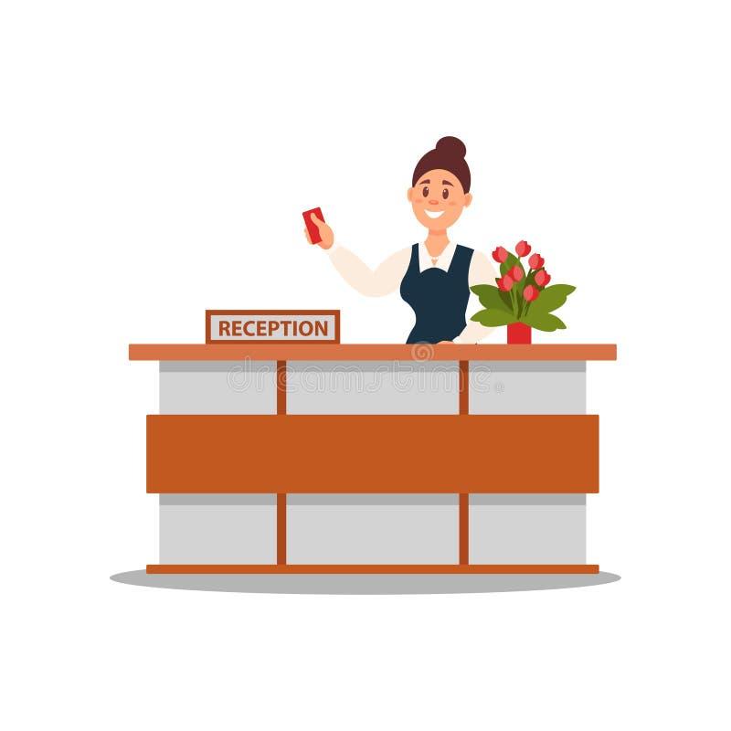 Aufnahme des Hotels Lächelnde Frau, die hinter Schreibtisch und Erweiterungshand mit Schlüsselkarte steht Flaches Vektordesign stock abbildung