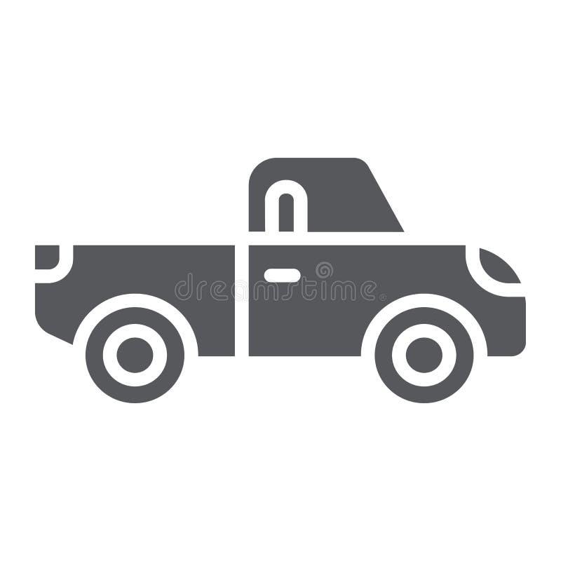 Aufnahme Glyphikone, Transport und Automobil, LKW-Zeichen, Vektorgrafik, ein festes Muster auf einem weißen Hintergrund stock abbildung