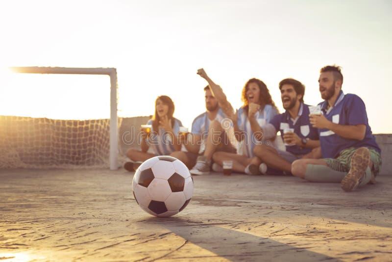 Aufpassen eines Fußballspiels lizenzfreies stockfoto