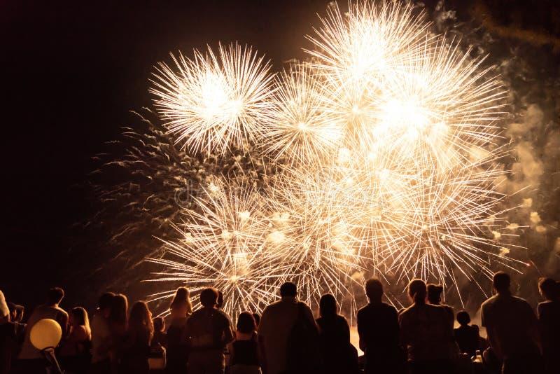 Aufpassende Feuerwerke der Menge und Feiern Sylvesterabend stockbild
