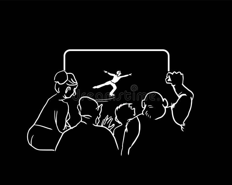 Aufpassender Eiskunstlauf der Leute im Fernsehen Auch im corel abgehobenen Betrag lizenzfreie abbildung