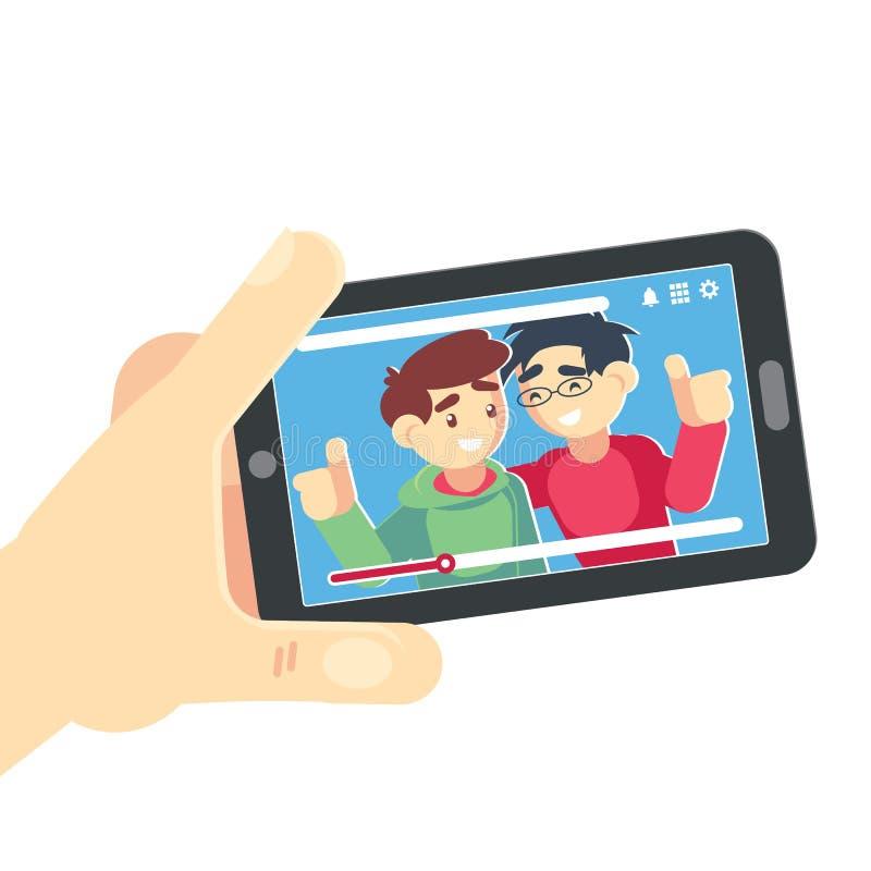 Aufpassendes Video auf Smartphone-Vektorfreunden Handholding smartphone Film-APP-Konzept Lokalisierte flache Illustration vektor abbildung
