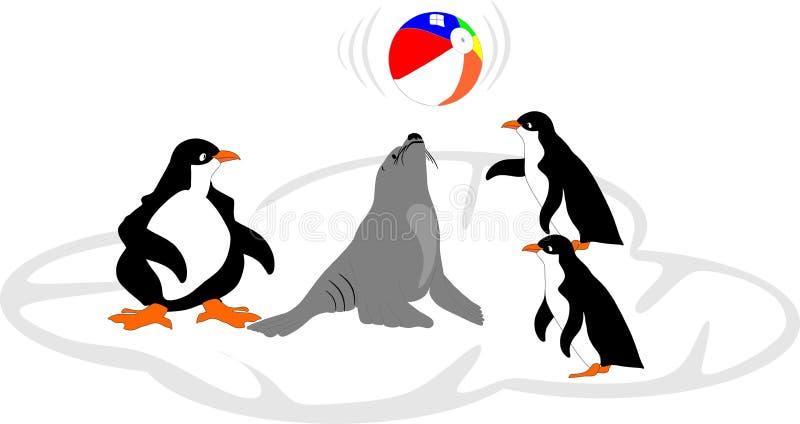 Aufprallende Kugel des Seelöwes weg der Wekzeugspritze mit Freunden. lizenzfreie abbildung