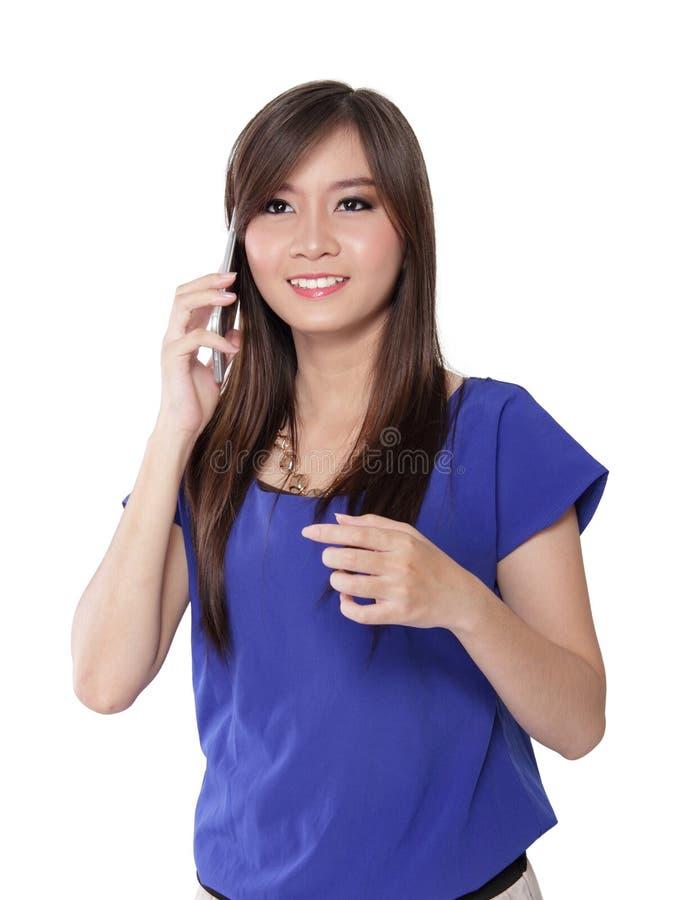 Aufregendes Gespräch über Handy lizenzfreies stockbild
