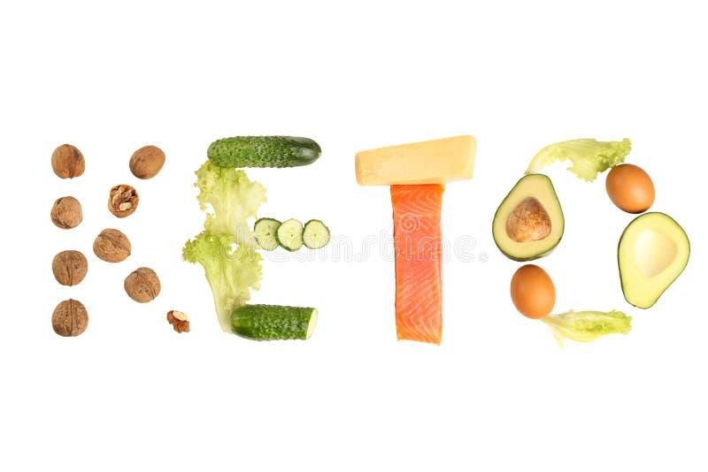 Aufschrift 'Keton 'von den verschiedenen niedrigen Vergaserprodukten für ketogenic Diät stockbild