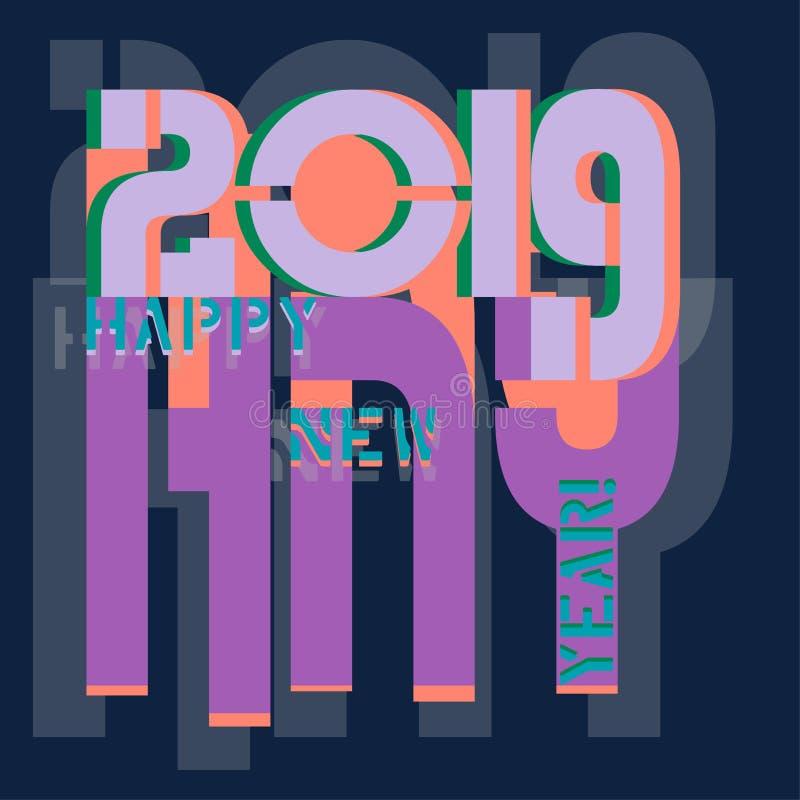 Aufschrift auf dem neuen Jahr in den modischen Farben von 2019 vektor abbildung