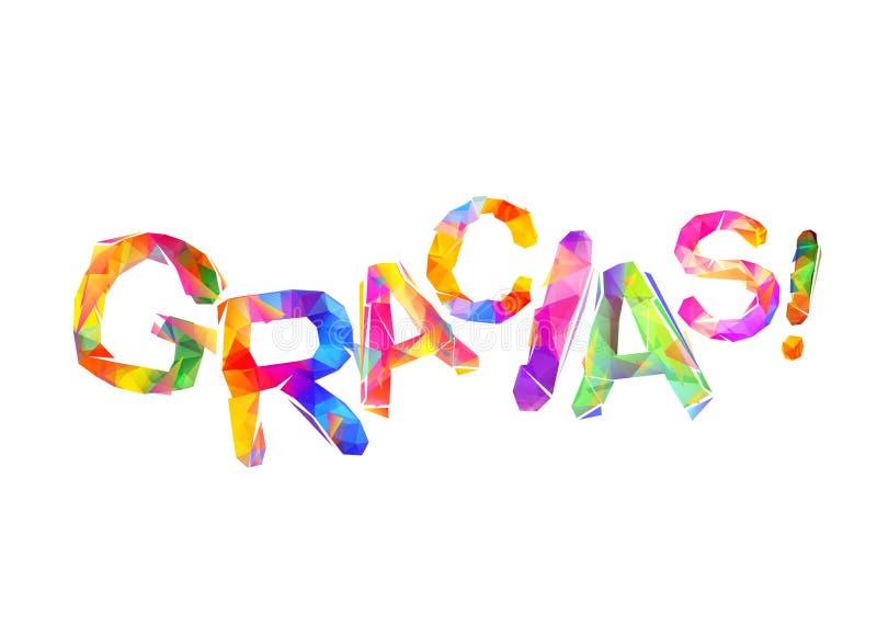 Aufschrift Auf Spanisch: Danke Gracias Vektor Abbildung