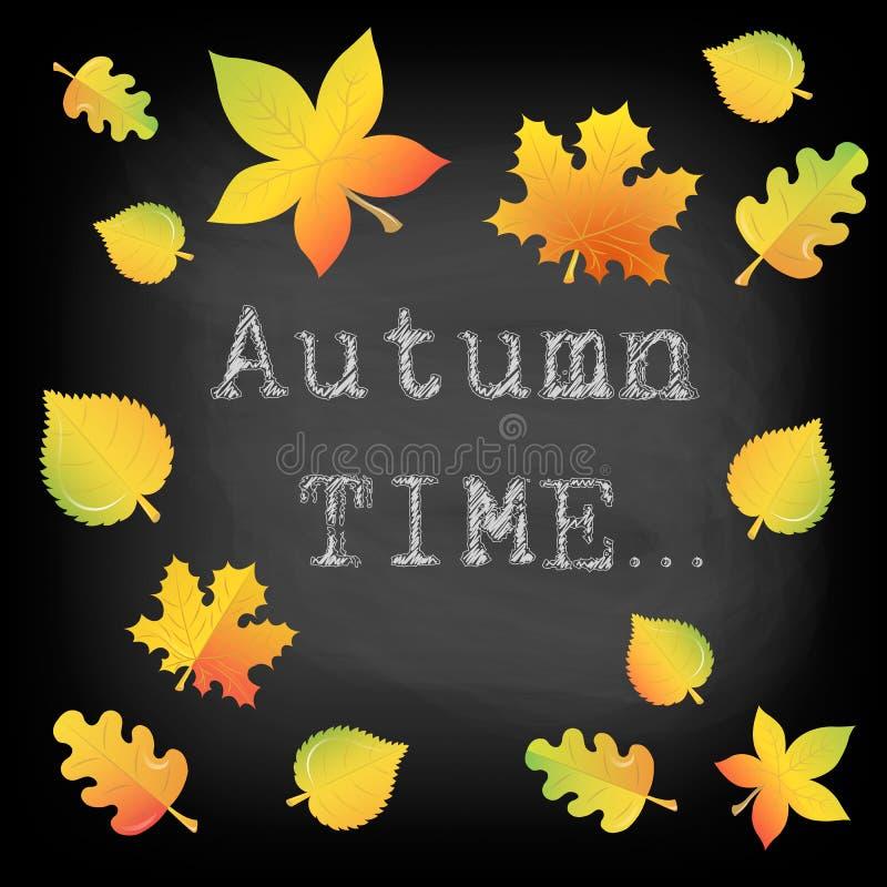 Aufschrift Autumn Time in der Kreide auf einer Tafel und eine Collage stock abbildung