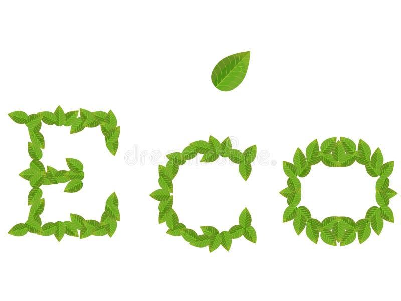 Aufschrift ECO vom Grün verlässt mit Blatt auf Weiß stock abbildung