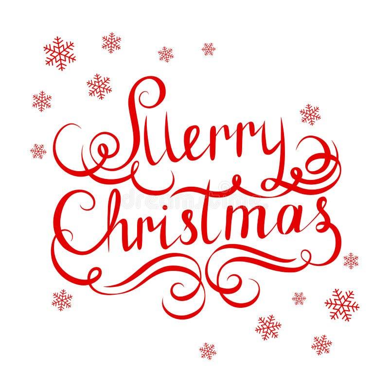Aufschrift-frohe Weihnachten mit Schneeflocken auf grünem Hintergrund, stock abbildung