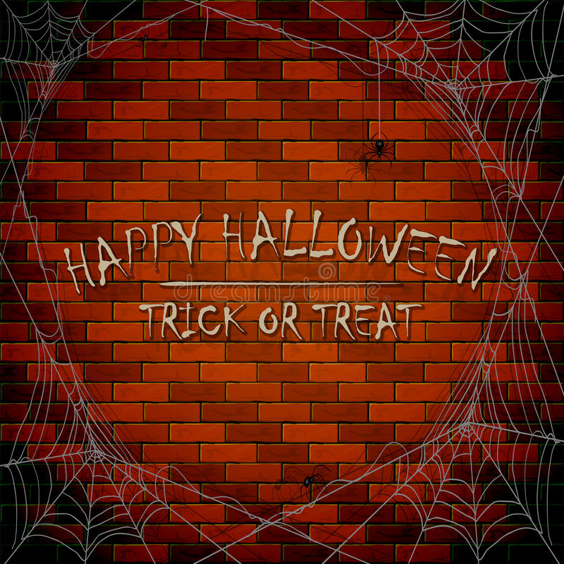 Aufschrift glückliches Halloween auf Backsteinmauerhintergrund mit Spinnennetz lizenzfreie abbildung