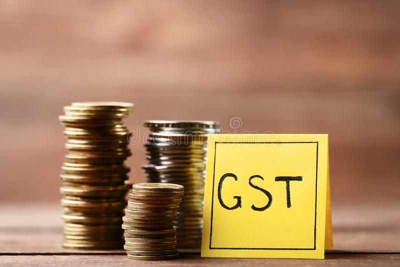 Aufschrift GST lizenzfreie stockfotos