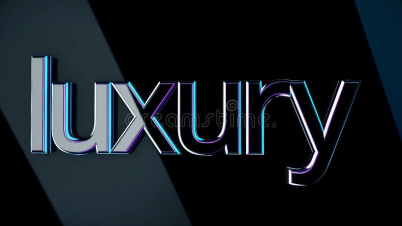 Aufschrift-Luxus animation Volumetrische Luxusbeschriftung mit der glatten Oberfläche reflektiert hellen Glanz auf Dunklem lokali lizenzfreie abbildung