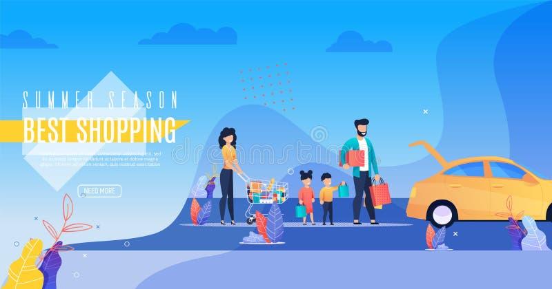 Aufschrift-Plakat-Sommersaison-bestes Einkaufen vektor abbildung