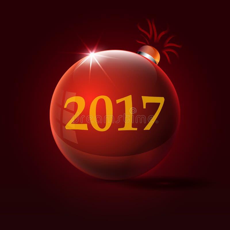 Aufschrift 2017 am roten Weihnachtsspielzeug vektor abbildung