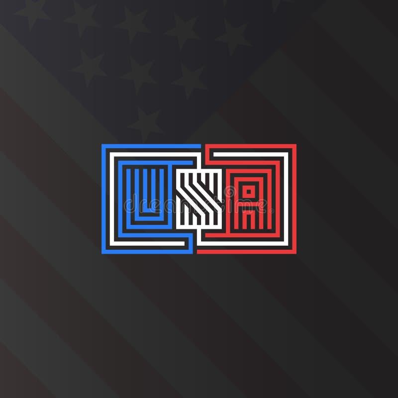 Aufschrift USA-Monogramm, nationales Plakatmodell der amerikanischen Flagge Farb, spinnende Linien Artlabyrintheffekt, patriotisc lizenzfreie abbildung