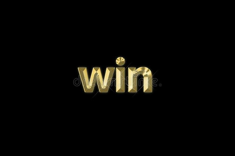 Aufschriftwort 'Gewinn 'des Gold 3d lokalisiert auf schwarzem Hintergrund lizenzfreie abbildung
