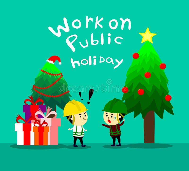 Aufsichtskraft informieren die Arbeitskraft zum Arbeiten an gesetzlichem Feiertag, Arbeit über Weihnachten, Karikatur vertoc stock abbildung