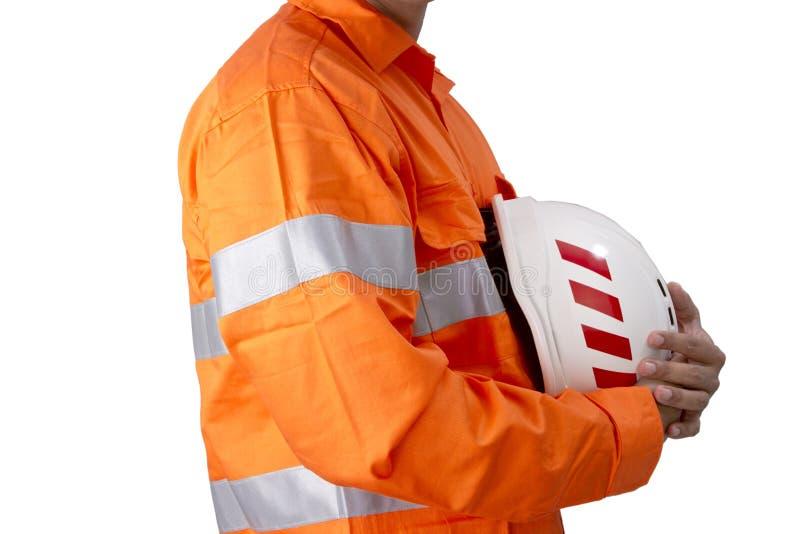 Aufsichtskraft mit Bauschutzhelm und hohem Sichthemd stockfotografie