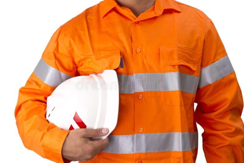 Aufsichtskraft mit Bauschutzhelm und hohem Sichthemd stockbild