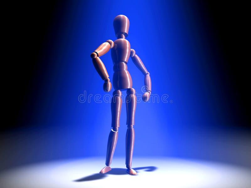 Aufstellung im Scheinwerfer - blaue Leuchte lizenzfreie abbildung